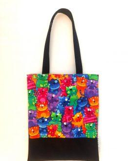 Bolsa Tote bag hecho a mano dibujo gatos multicolor