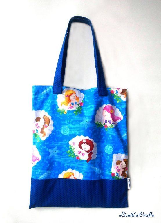Bolsa tote bag hecha a mano sirenas