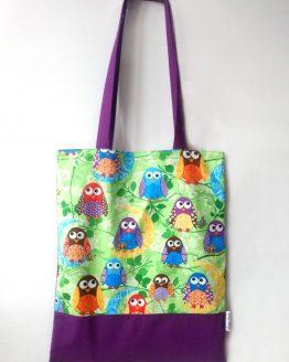 Bolsa tote bag hecha mano búhos multicolor