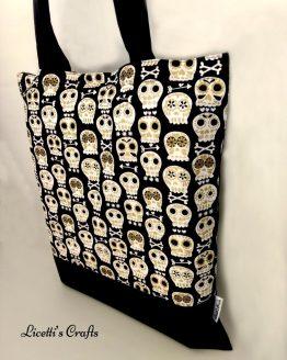 Lateral bolsa tote bag hecha a mano calaveras