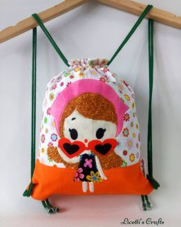 Mochila infantil cuerdas muñeca kawaii