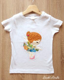 camiseta manga corta con bailarina en relieve hecha a mano
