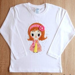 camiseta manga larga hecha a mano princesa