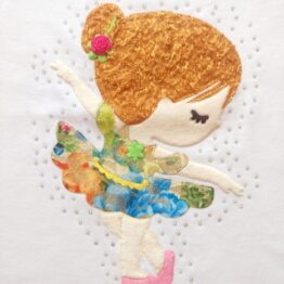 bailarina en relieve con pelo para camiseta hecha a mano