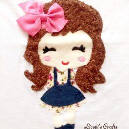 muñeca en relieve para camiseta hecha a mano lazo rosa