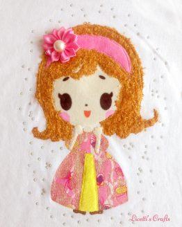 muñeca en relieve para camiseta princesa