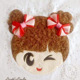 muñeca en relieve con pelo para camiseta wink