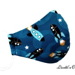 mascarilla higiénica infantil cohete espacial