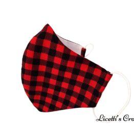 mascarilla higienica reutilizable cuadro rojo y negro