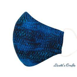 mascarilla higienica reutilizable escamas serpiente azul