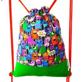 mochila cordon ajustable monstruos multicolor