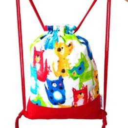 mochila cuerdas infantil gato acuarela