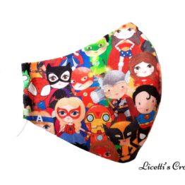 mascarilla super heroes marvel y DC